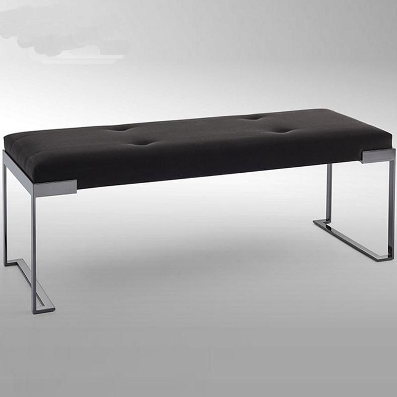 后现代不锈钢布艺换鞋凳简约床尾沙发脚踏凳客厅酒店样板房