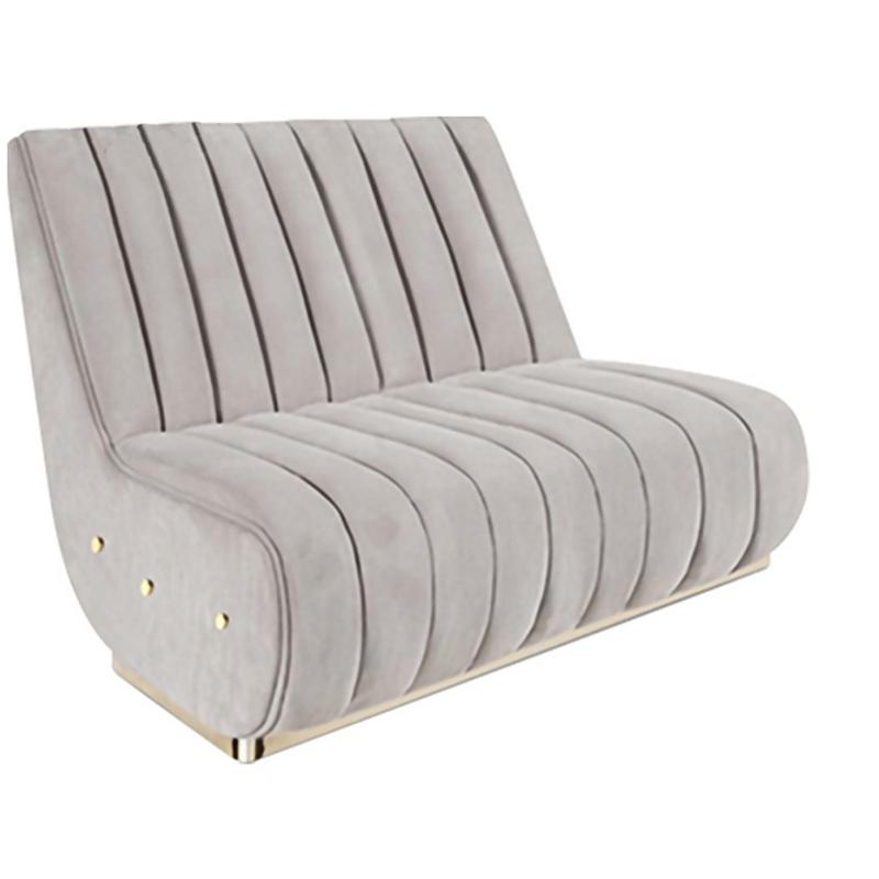 写意空间现代简约休闲沙发椅轻奢布艺皮革客厅酒店会所双人沙发