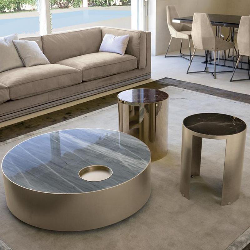 现代简约电镀不锈钢大理石创意个性家具网红圆形茶几边几茶桌客厅酒店样板房别墅