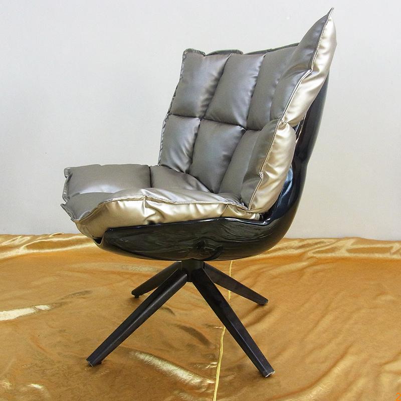 玻璃钢 现代简约客厅酒店卧室布艺皮革 休闲椅 不锈钢脚架创意 设计师餐椅