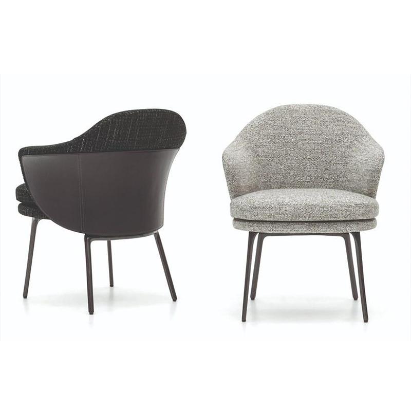 新款 Minotti 现代简约 轻奢不锈钢餐椅 休闲椅 扶手安乐椅 ANGIE easy chair 客厅酒店样板房