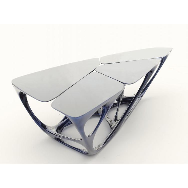 扎哈哈迪德Zaha· hadid 玻璃钢异形茶几 Glass steel coffee table 设计师镂空设计