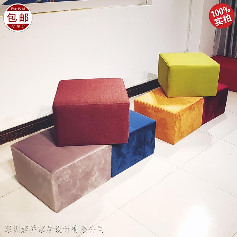 实木布艺软包 不锈钢脚架 极简 轻奢风 客厅 酒店样板房矮凳 床位凳 脚踏 沙发凳组合