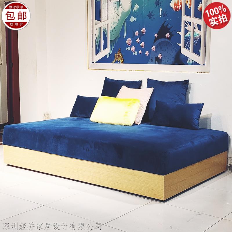实木布艺沙发 公寓卧室 大小户型小床 轻奢极简 设计师沙发客变床定制 酒店 会所样板房