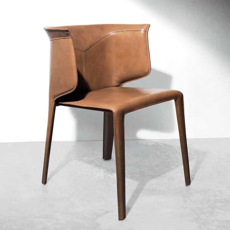 娅乔家具定制 马鞍皮餐椅 北欧 设计师休闲椅 客厅餐厅酒店样板房