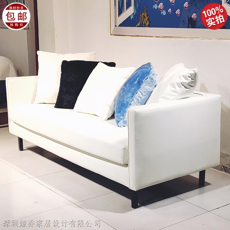 现代简约轻奢不锈钢脚架皮革定制多人位沙发 设计师创意大小户型客厅 酒店会所样板房