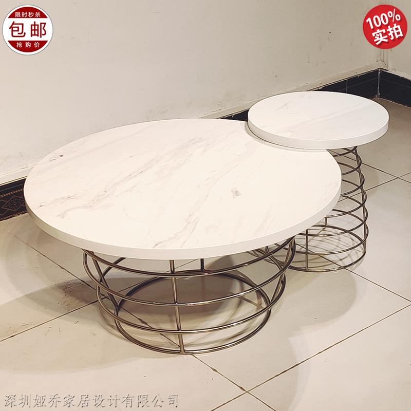 简约大理石茶几 北欧 不锈钢 客厅餐厅酒店角几边几 圆型小桌定制