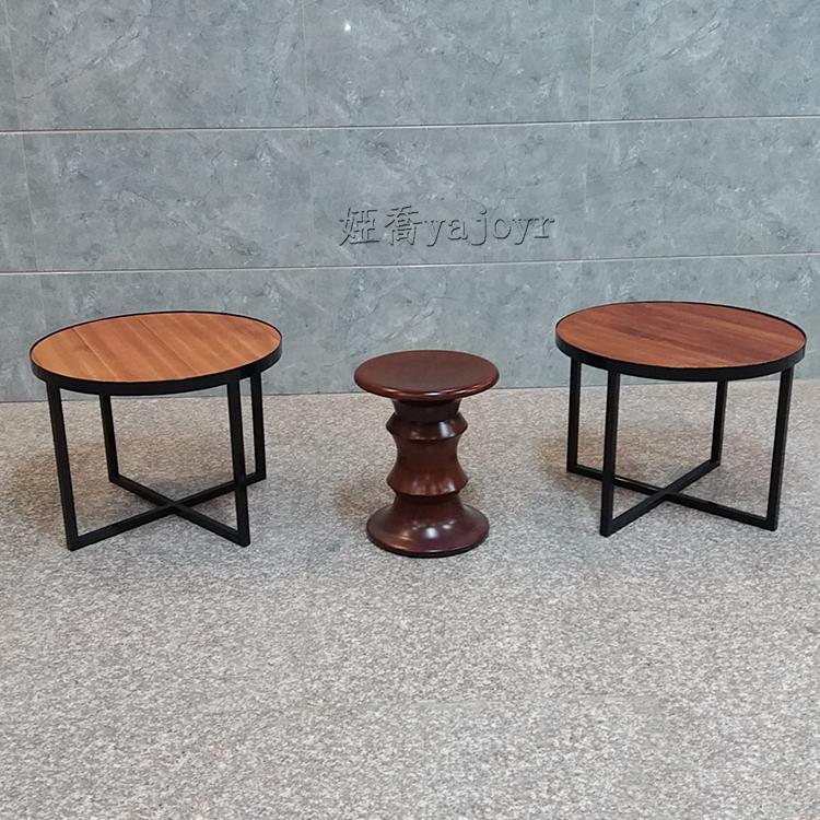 铁艺实木餐桌椅 家用餐厅饭店农家宴大圆桌黑胡桃木色铁不锈钢电镀铁烤漆