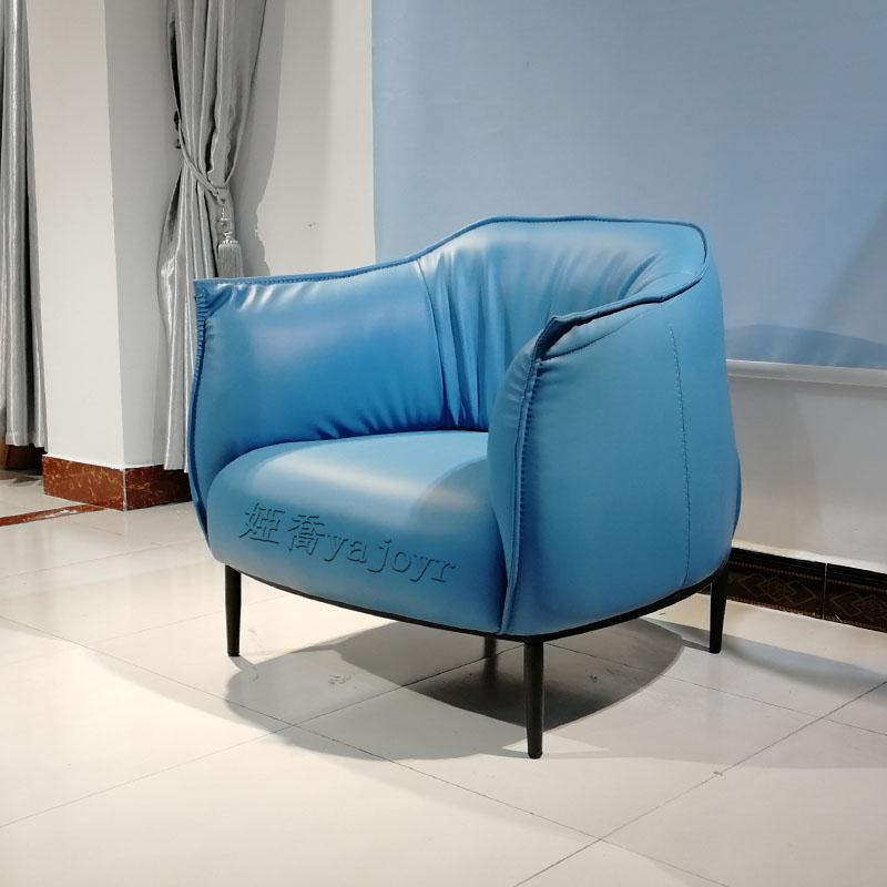 现代简约 欧式 设计师单人位沙发 真皮休闲椅 客厅酒店别墅会客区