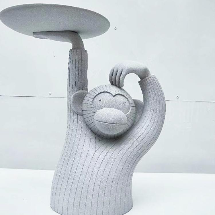 玻璃钢 动物茶几 小桌子 设计师极简轻奢 边几组合餐椅休闲椅圆盘 猴子茶几 圆几