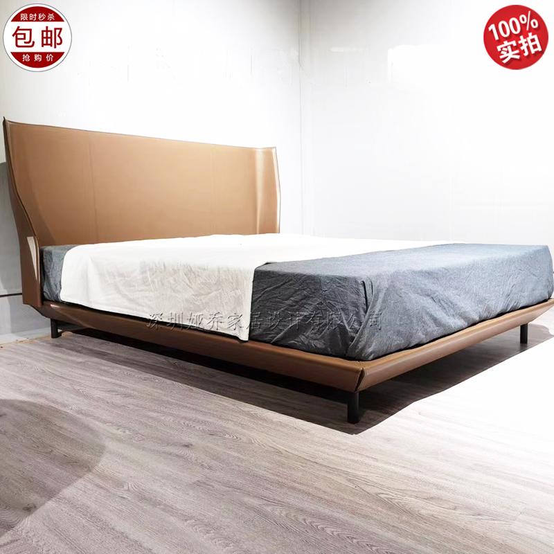 北欧轻奢 皮艺床 1.8米双人主卧 简约意式 极简高档 欧式 现代 软床 婚床