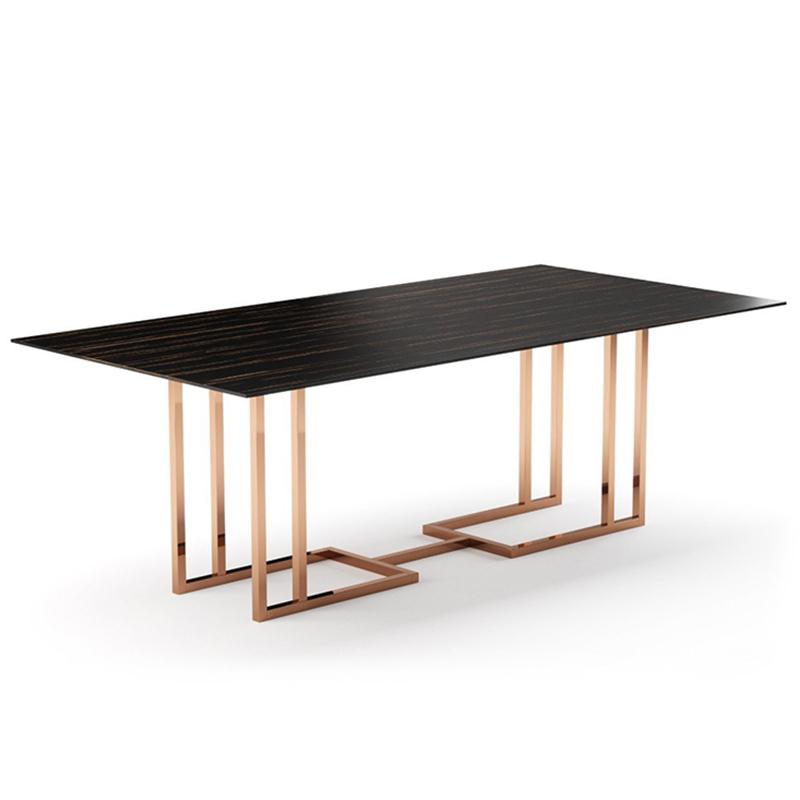 北欧 设计师长桌餐桌办公桌会议桌 PRADDY 葡萄牙轻奢不锈钢大理石样板房家用小户型餐台定制