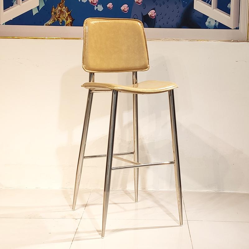 网红吧台椅北欧铁艺酒吧椅吧凳现代简约椅子圆形不锈钢原色高脚凳 现代简约吧台椅