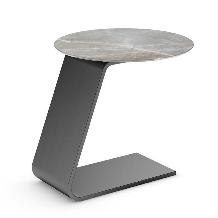 轻奢不锈钢 意式 大理石 爵士白 Italy Reflex OH Tea table 小茶几 边桌电镀 拉丝高档别墅边几角几