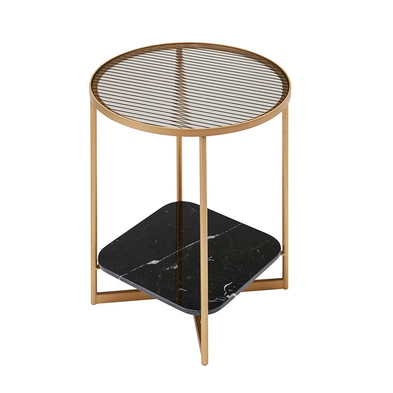 北欧 设计师 The Mohana 圆形茶几角几铁艺大理石床头小圆桌角落沙发轻奢双层玻璃边几