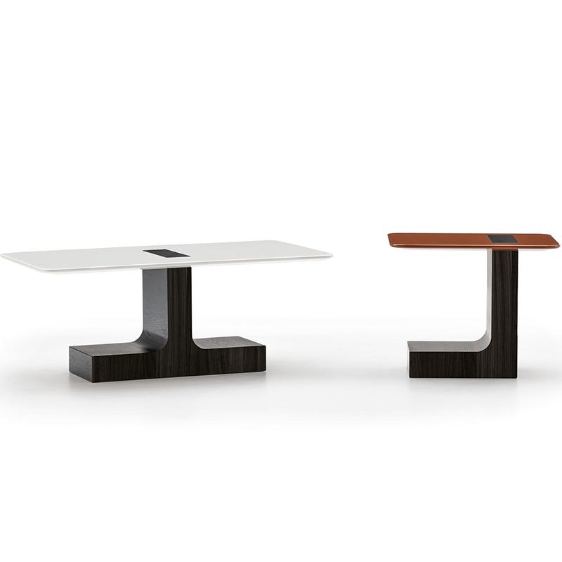 后现代 Minotti 极简 茶桌茶几 北欧设计师 新款港式五金原木客厅 意式实木茶几