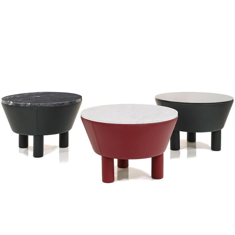 Wittmann 西班牙著名设计师 创意设计LEATHER SIDE TABLE 实木大理石茶几 客厅酒店样板房休息区摆放