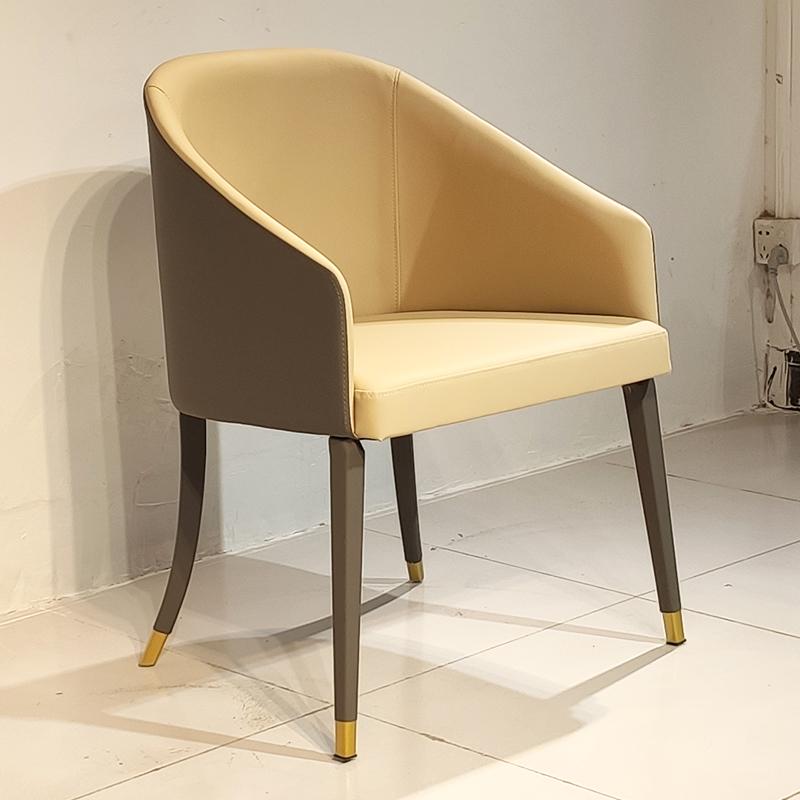 布艺皮革餐椅 现代简约轻奢不锈钢实木定制 客厅酒店餐厅样板房会所餐椅 休闲椅