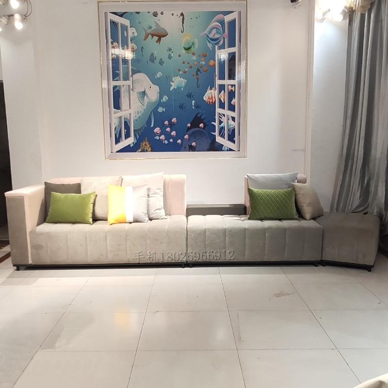 欧式  实木布艺3.8米弧形大沙发定制 大户型 展厅 大厅酒店 大客厅大餐厅 多人沙发