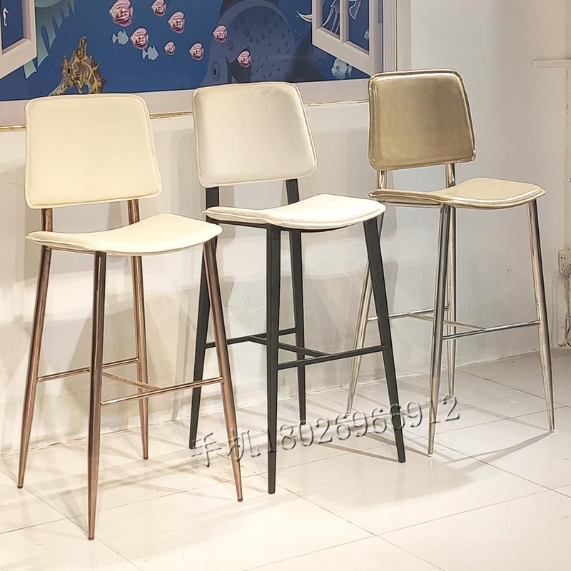 白色绒布 北欧设计师创意设计 咖啡店奶茶店 吧台桌 高脚吧椅  High chair bar stool  户外 客厅 商用定制