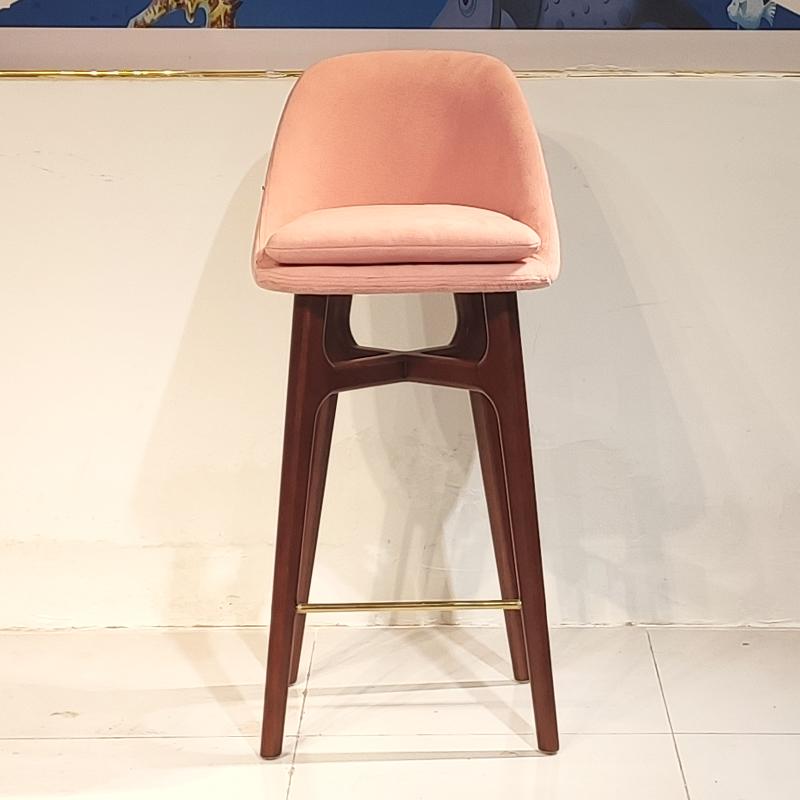 北欧高脚吧椅 水柳木 不锈钢轻奢 极简吧台椅 酒吧椅 样板间意式家用高脚吧椅