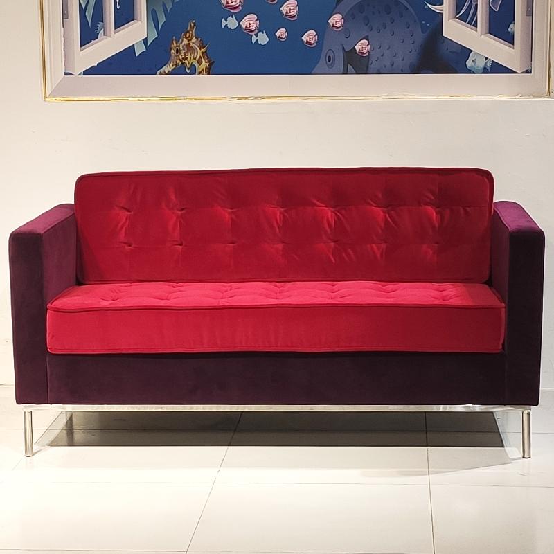 欧美风格现代简约设计客厅酒店别墅高端会所皮质双人沙发304不锈钢框架