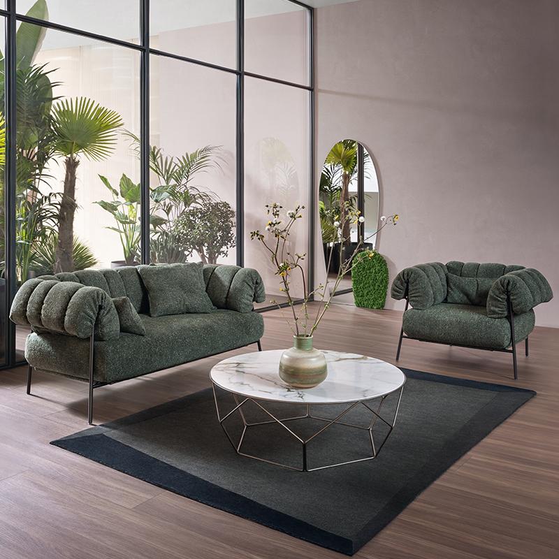 现代简约 轻奢不锈钢 北欧设计师 Paolo Grasselli  TIRELLA By Bonaldo 单人双人多人位沙发定制
