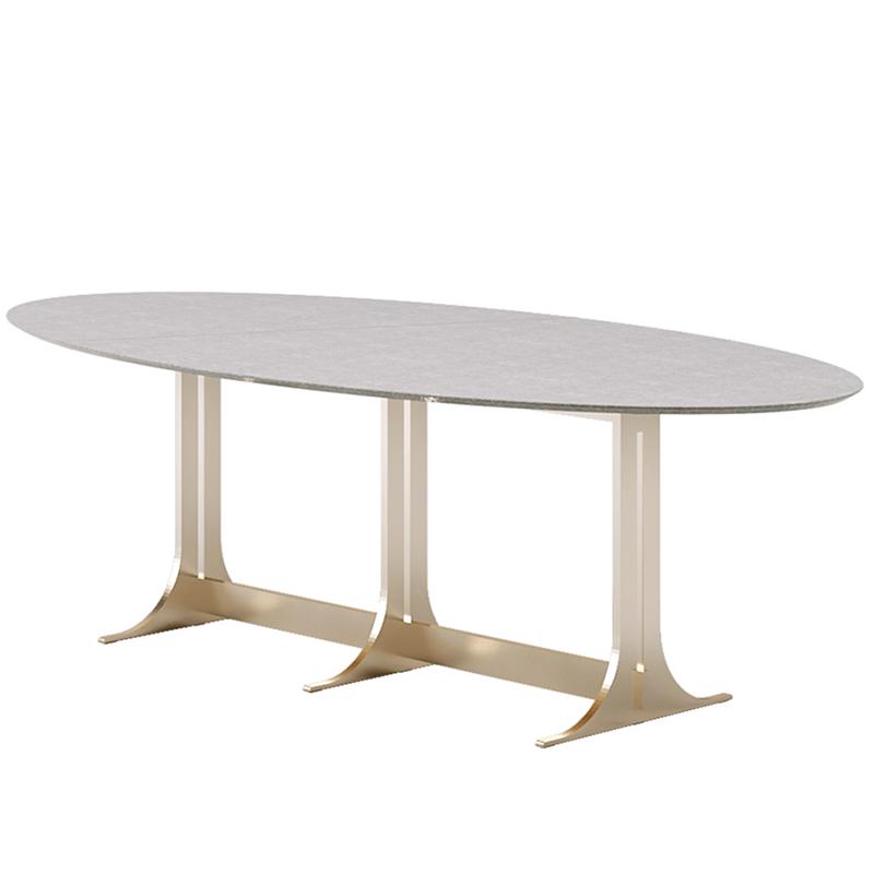 欧式 不锈钢轻奢大理石餐桌 简约现代餐桌椅组合 圆餐桌 大小户型 家用鸡蛋圆桌