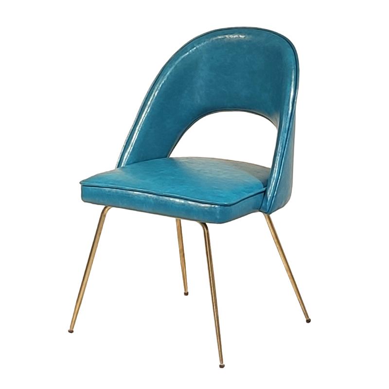 北欧 简约现代 轻奢不锈钢 电镀金色脚 客厅餐厅餐桌椅 布艺皮革 靠背椅 餐椅