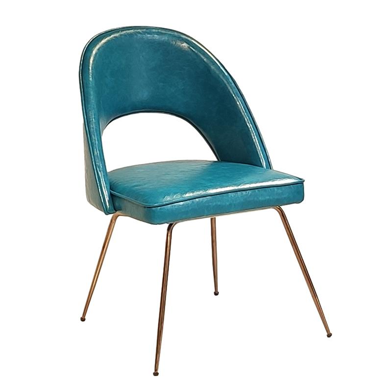 北欧 简约现代 轻奢不锈钢 电镀香槟金脚 客厅餐厅餐桌椅 布艺皮革 靠背椅 餐椅
