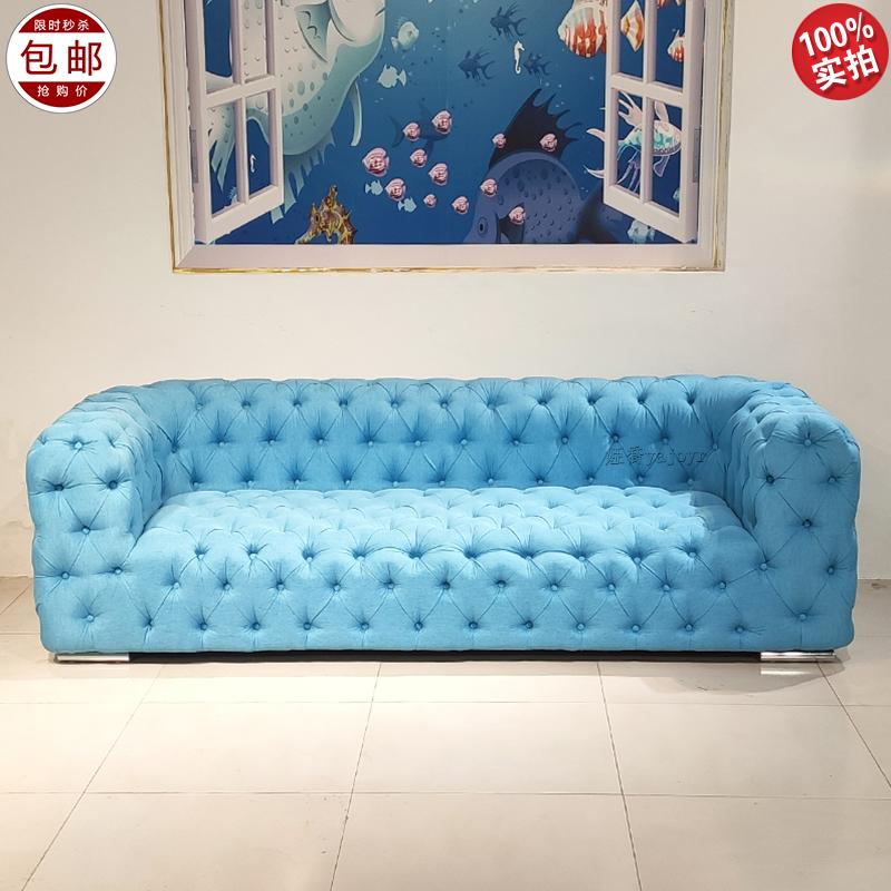 意大利 Baxter 设计师 布艺皮革 纽扣沙发 客厅酒店样板房多人位沙发