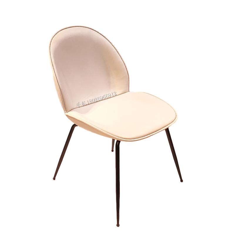 北欧甲壳虫软包餐椅靠背椅餐厅椅网红椅奶茶店咖啡店休闲餐椅