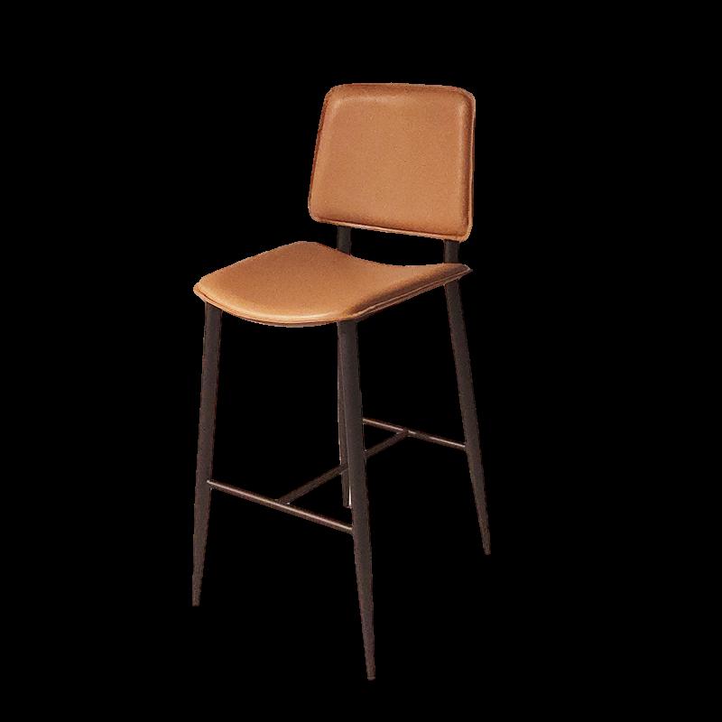 现代简约高脚吧椅奶茶店咖啡厅KTV不锈钢金属磨砂吧椅售楼处样板房设计师前台吧椅