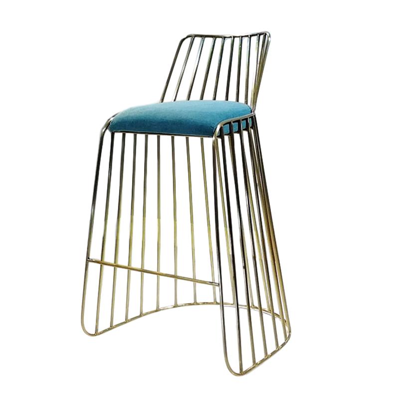 欧式 不锈钢 电镀香槟金 High chair 高脚吧椅 客厅酒店会所样板房 酒吧椅