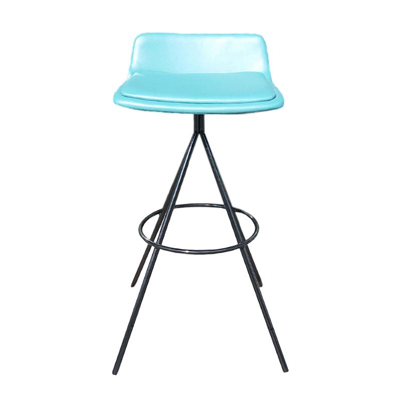 蓝色粉色不锈钢电镀铁烤漆现代简约铁艺吧椅休闲靠背椅 酒吧 会所 奶茶店 咖啡店