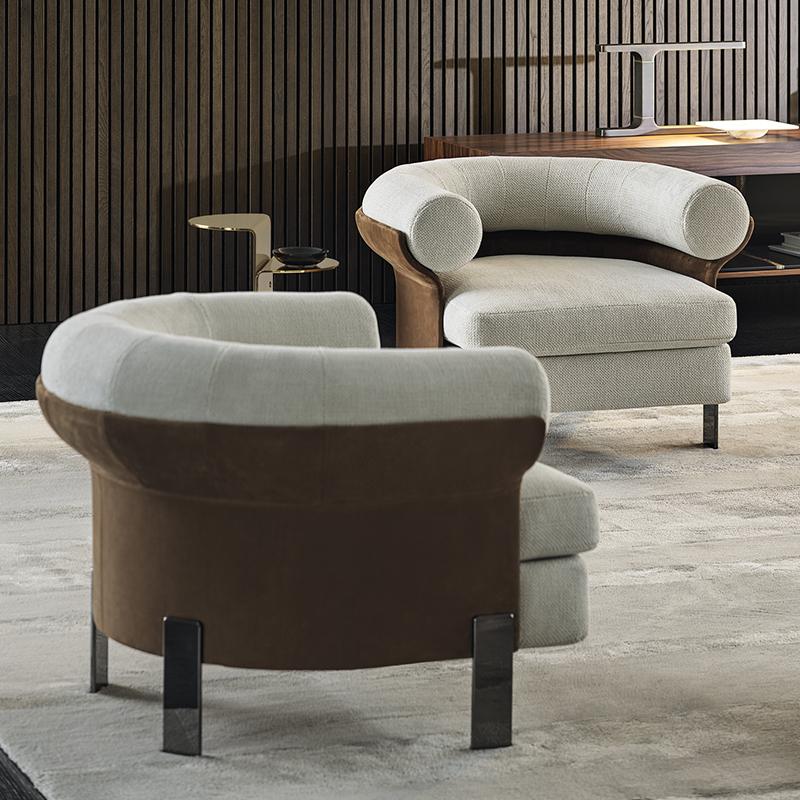 Italy  Minotti款 设计师沙发椅 客厅酒店样板房不锈钢轻奢定制休闲椅 Mattia Sofa chair