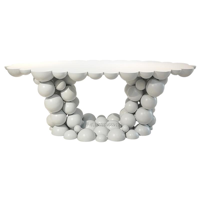 不锈钢球状体平面长桌 现代简约 室内外 酒店别墅 样板房咖啡店均可用