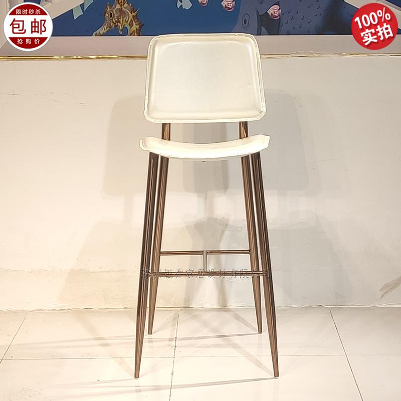 现代简约 轻奢不锈钢 High chair 电镀古铜色 高脚吧椅 客厅酒店会所样板房  Bar chair 酒吧椅