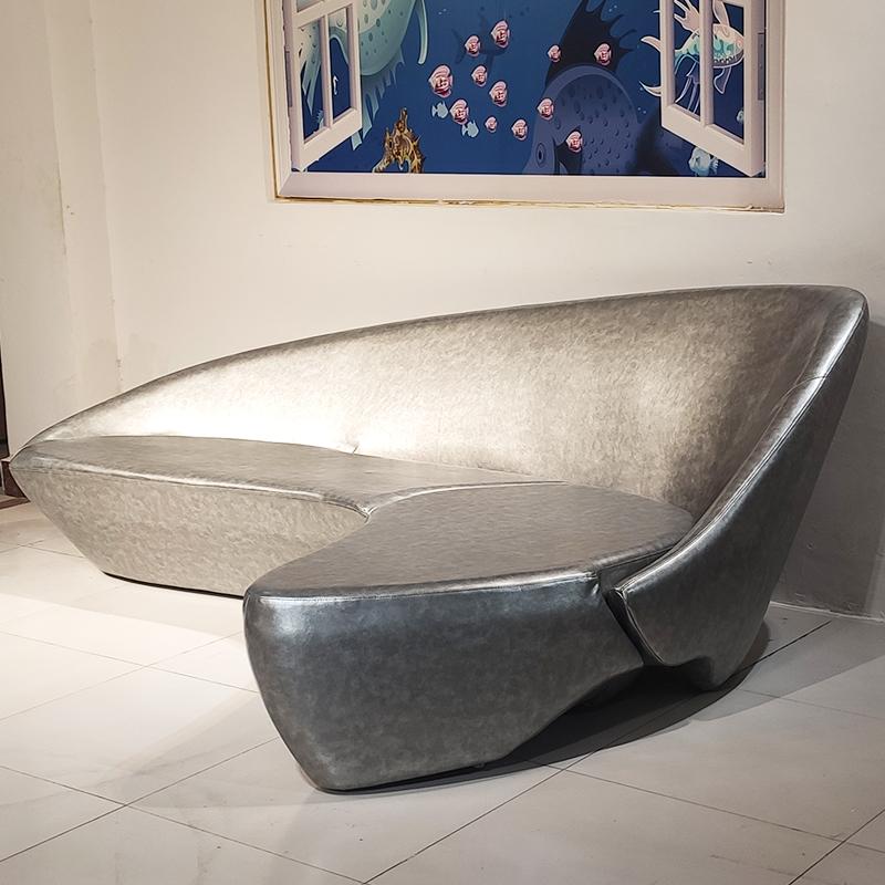 2.4米 皮艺沙发 设计师 玻璃钢月亮沙发 客厅酒店大堂 多人位沙发