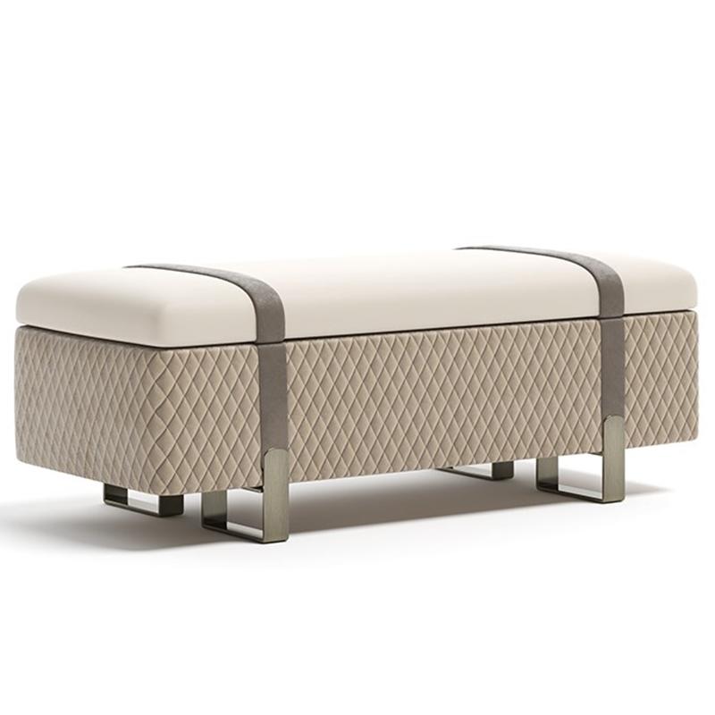 意式现代 皮艺沙发凳 Grand 室内長椅 储物不锈钢轻奢换鞋凳长方形换鞋凳床尾凳脚踏