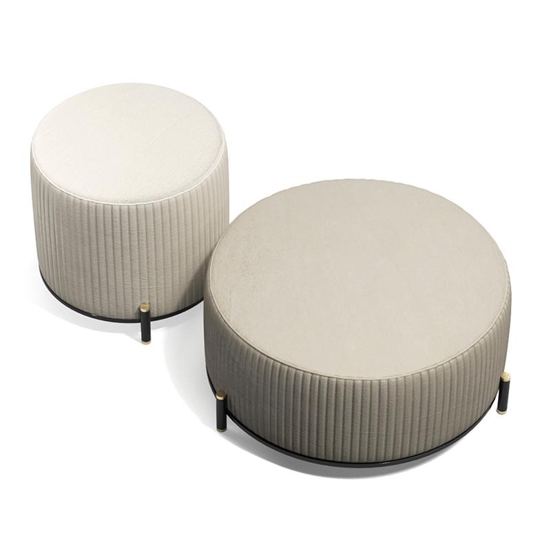 TOULOUSE .60 沙发凳 意式轻奢不锈钢 布艺皮革定制 现代简约坐凳 吧凳
