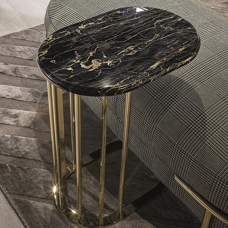 意式 BALMAIN Tea table 设计师 简约不锈钢大理石茶几 客厅沙发边样板房 巴尔曼茶几