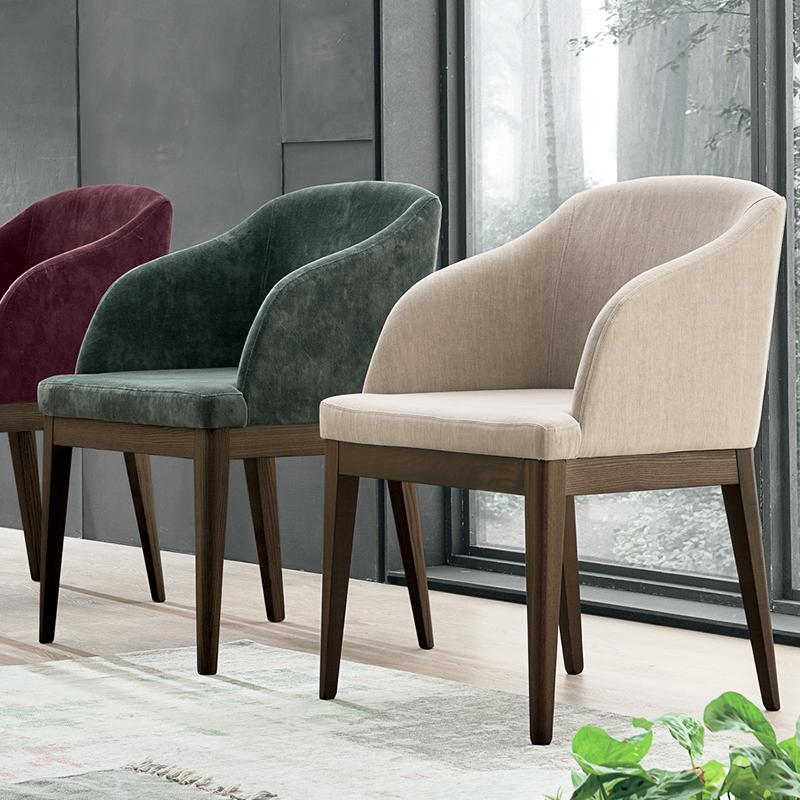 LOLA 意式休闲椅 客厅酒店会所样板房 罗拉餐椅 现代简约布艺皮革定制