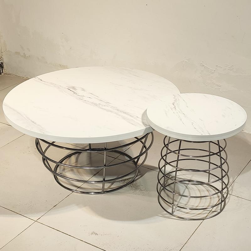 现代简约 人造大理石 轻奢不锈钢 茶几组合 客厅酒店样板房 商业房地产茶桌餐桌