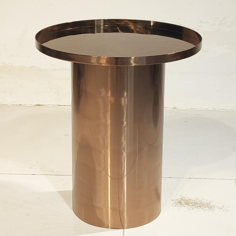 现代简约 轻奢不锈钢电镀 防指纹 圆柱 茶几 边几角几 客厅 大小户型茶桌