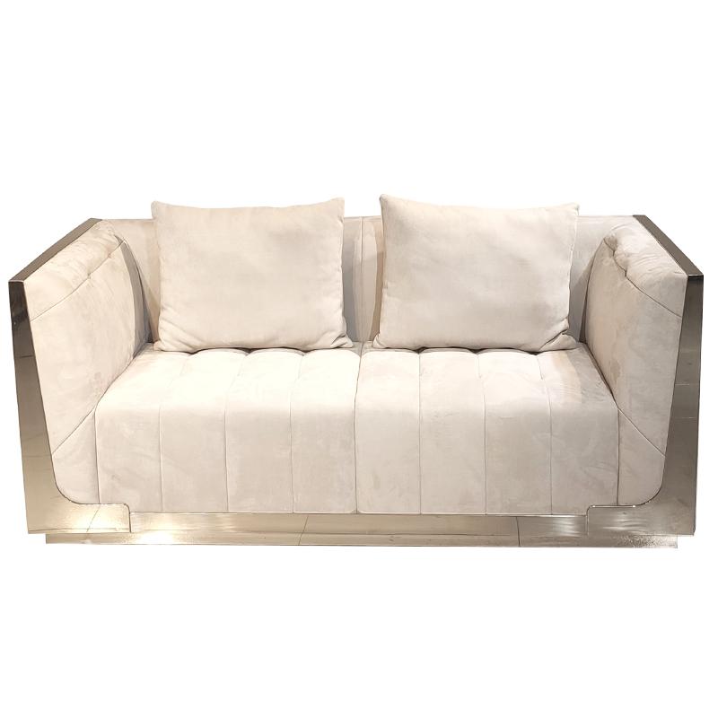 意式轻奢后现代 不锈钢 布艺沙发组合 现代简约 大小户型 设计师样板房 多人位沙发