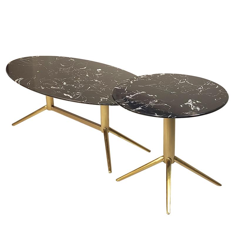 意式 奢华型不锈钢 大理石 圆几金色 茶几 设计师 客厅酒店样板间
